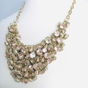 Jewelry - Gorgeous Statement RoseGold Diamond Clustr Necklce